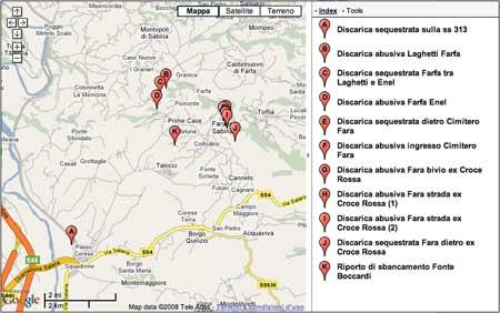 Anteprima mappa discariche di Fara in Sabina